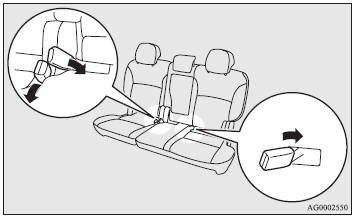 When the second seat belts are not in use, insert the buckles into the seat cushion